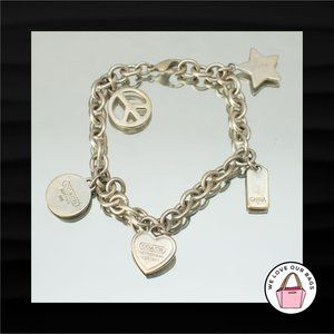 RARE $348 COACH 925 STERLING SILVER CHARM BRACELET